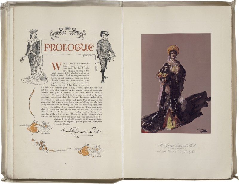 Shakespeare Memorial Souvenir of the Shakespeare Ball. Edited by Mrs. George Cornwallis-West. Prologue with colored photo of Mrs. Cornwallis-West (Churchill's mother's name, following her second marriage) as Countess Olivia. Folger Shakespeare Library.