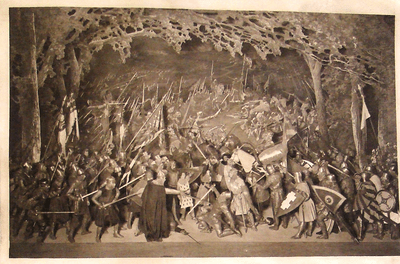 Battle of Angiers tableau, Beerbohm-Tree stage production of King John. University of Bristol Theatre Collection, Internet Shakespeare site.