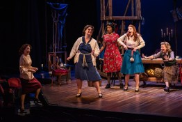 "Kari Ely, Katy Keating, Jacqueline Thompson, Mary McNulty and Michelle Hand in Shakespeare Festival St. Louis' ""Into the Breeches!"" 2018. Photo: Phillip Hamer Photography."