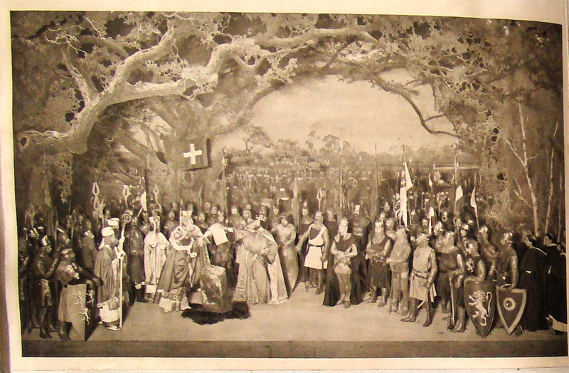 Magna Carta tableau, Beerbohm-Tree stage production of King John. (c) University of Bristol Theatre Collection.