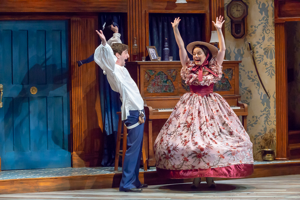 """Abby Lee as Olivia and Patrick Earl Phillips as Sebastian in Cincinnati Shakespeare Company's 2018 production of """"Twelfth Night"""", directed by Austin Tichenor. By Mikki Schaffner Photography."""