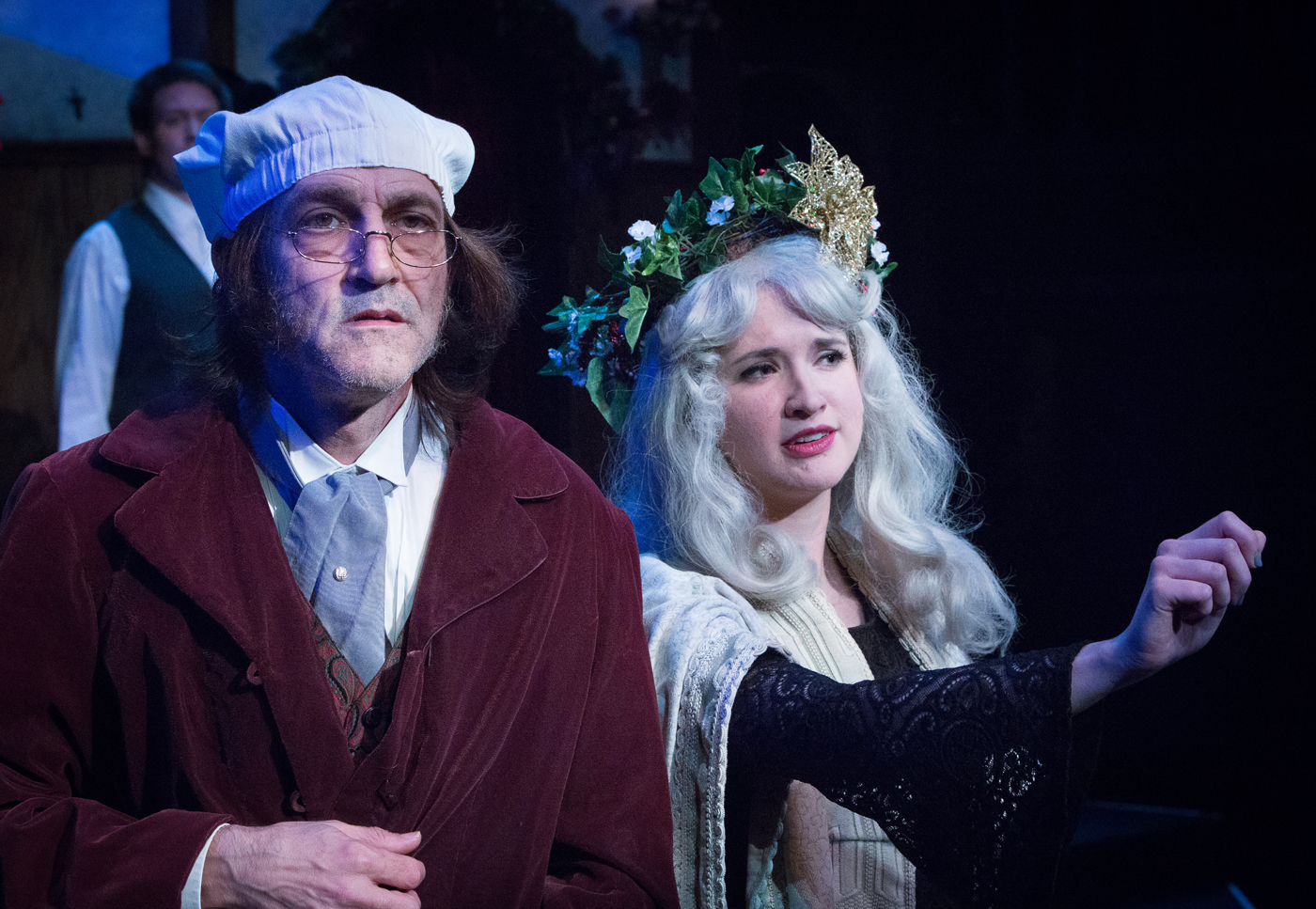 """A Christmas Carol"" at Atlanta Shakespeare Company. Drew Reeves and Gabi Anderson. Photo by Jeff Watkins."