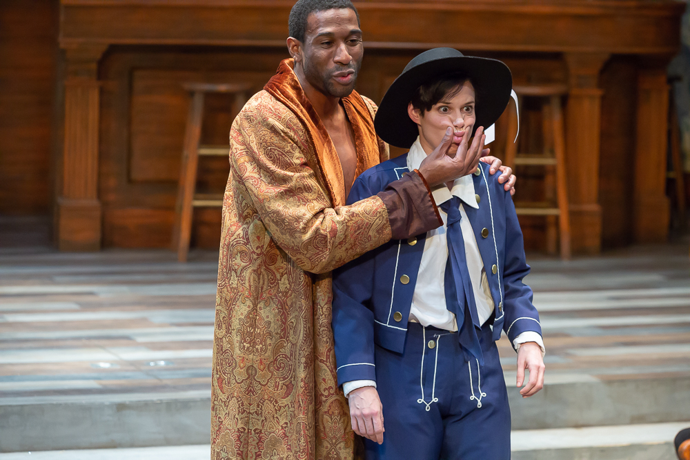 William Oliver Watkins as Orsino and Caitlin McWethy as Viola in Cincinnati Shakespeare Company's 2018 production of Twelfth Night, directed by Austin Tichenor. By Mikki Schaffner Photography.