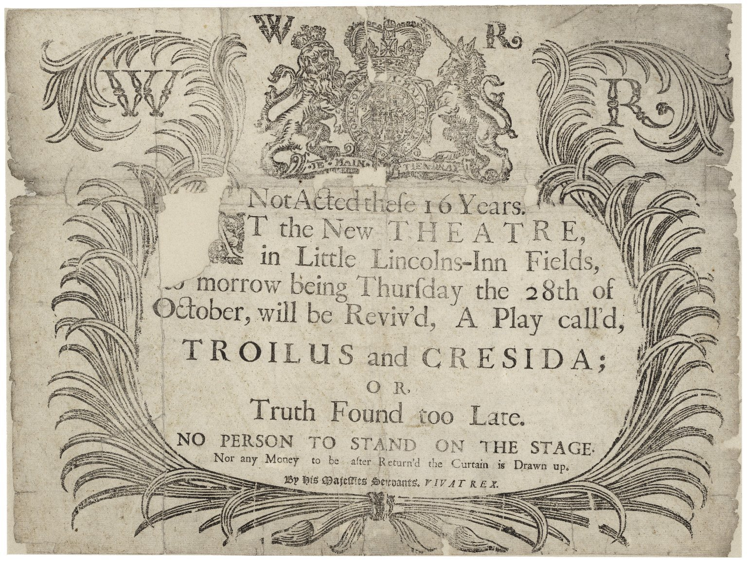Troilus and Cressida playbill. Lincoln's Inn Fields, 1697. Folger Shakespeare Library.