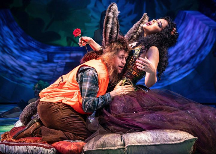 "Nick Bottom (T.R. Knight) embraces the enraptured fairy queen Titania (Alexandra Silber). ""A Midsummer Night's Dream,"" Chicago Shakespeare Theater. Photo by Liz Lauren."
