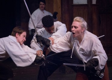 "Storla as Mercutio, Mary Ruth Ralston as Tybalt, Josh Goodridge as Romeo in ""Romeo and Juliet,"" Atlanta Shakespeare Company. Photo by Jeff Watkins."