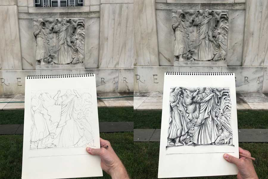 Paul Glenshaw drawing the King Lear bas-relief