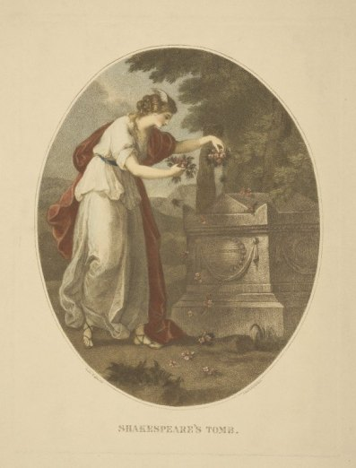 """""""Shakespeare's Tomb,"""" Painted by Angelica Kauffmann, engraved by Bartolozzi"""