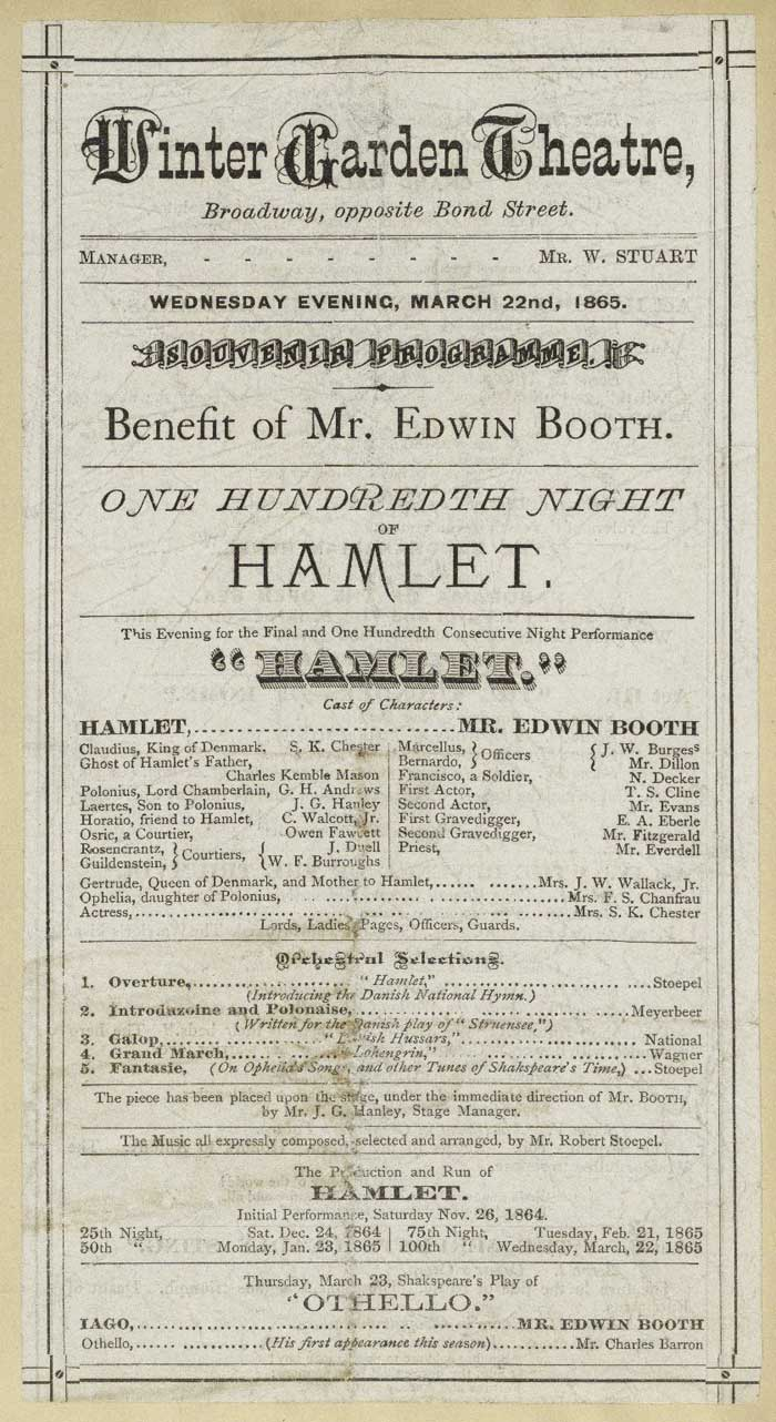 Edwin Booth's 100th Hamlet performance