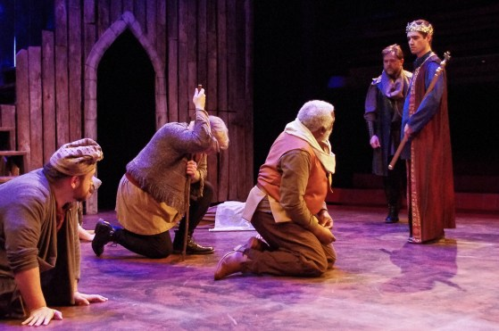 """Gregory Michael Atkin (Pistol), Michael Crowley (Shallow) Gregory Burgess (Falstaff) Brendan Murray (Lord Chief of Justice) and Seamus Miller (Prince Henry) in """"Henry IV, Part 2"""" at Chesapeake Shakespeare Company. Photo: Brandon W. Vernon."""
