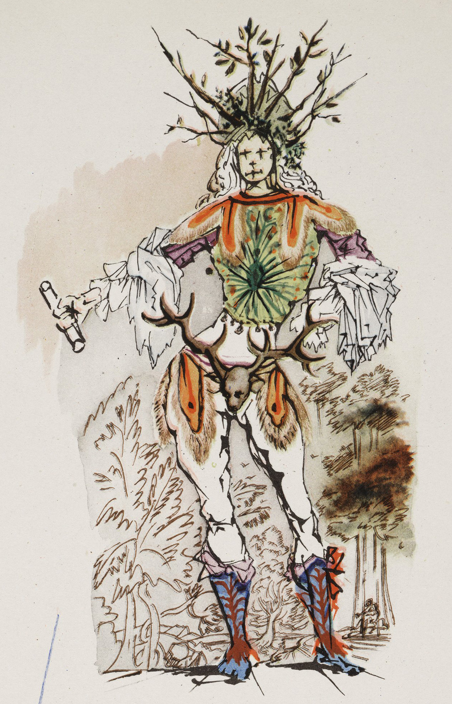 A sketch of a man in a branch-like headdress, with billowing sleeves and a stags-head codpiece. A 1948 costume rendering by Salvador Dali for a production of Come Vi Piace, As You Like It. Folger ART Vol. f99.