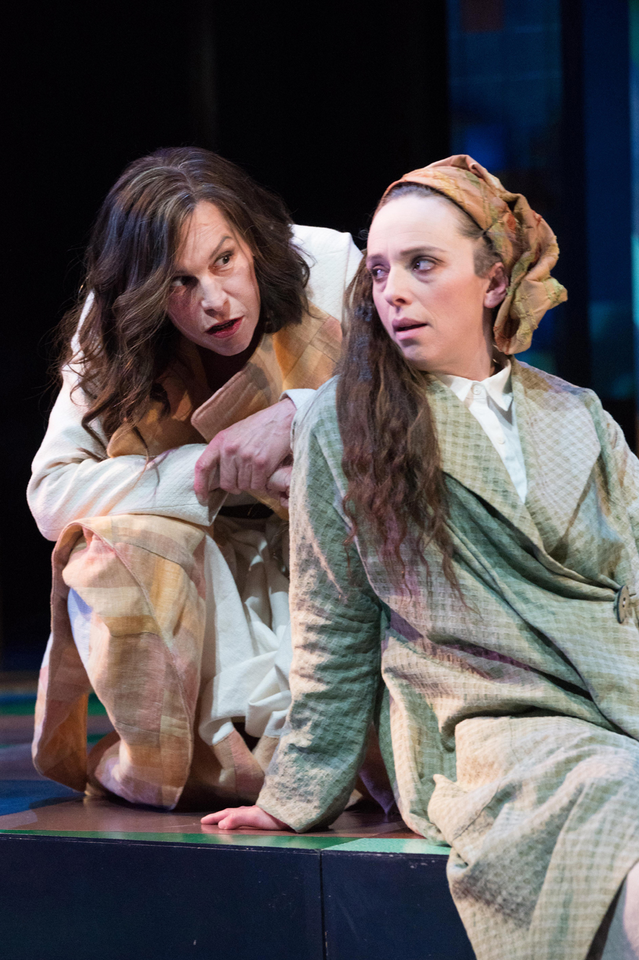 Rachel Crowl as Duke Senior and Erica Sullivan as Jaques, As You Like It, Oregon Shakespeare Festival