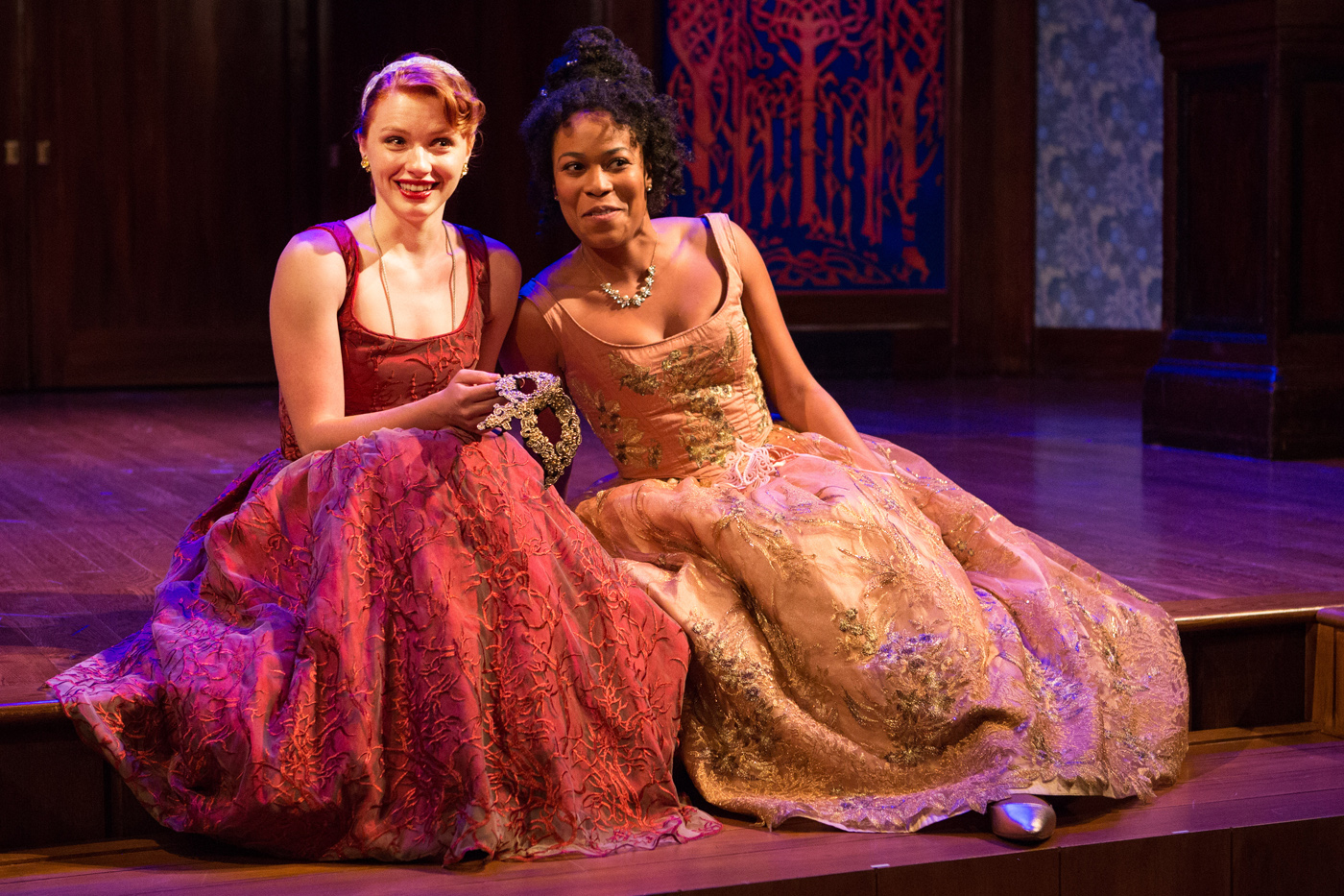 Lindsay Alexandra Carter as Rosalind and Antoinette Robinson as Celia in As You Like It at Folger Theatre, 2017