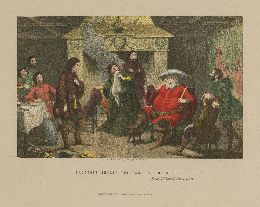 Etching of a scene between Falstaff and Hal