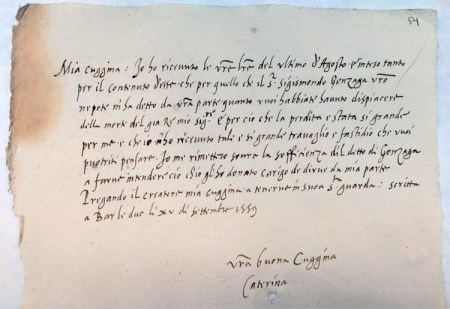 Letter from Catherine de Medici