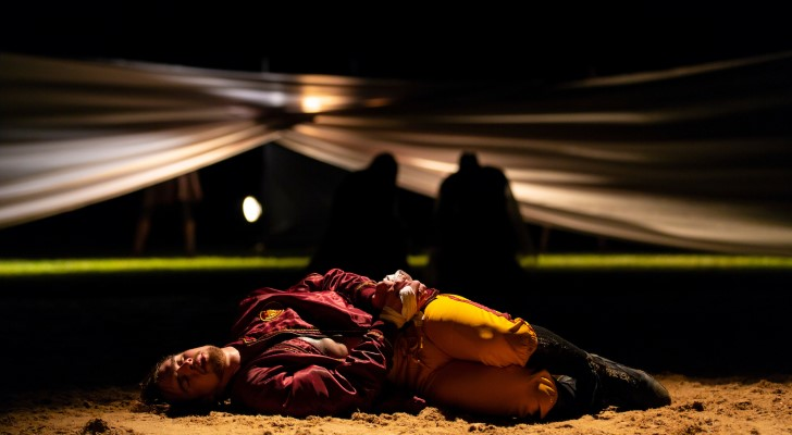 """Jupiter predicts the fate of Posthumus, laying in the foreground, in """"Cymbeline"""" at Hudson Valley Shakespeare Festival."""