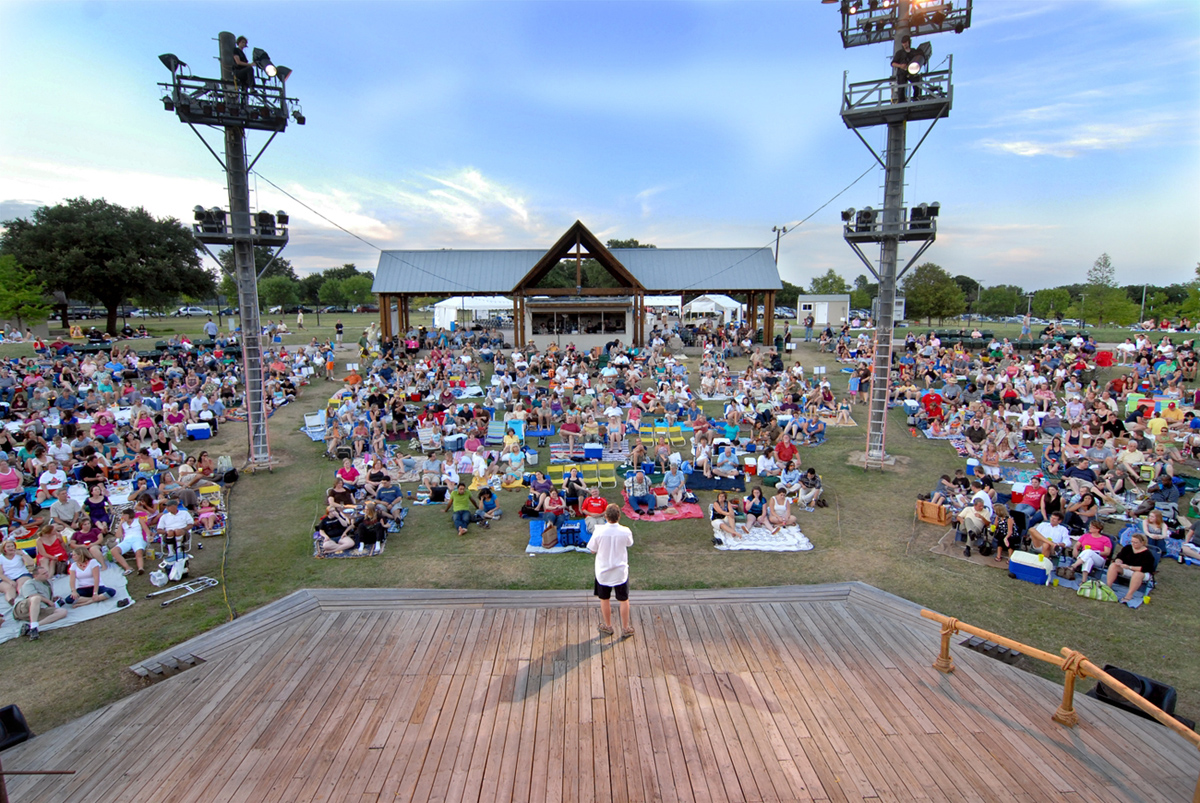 The audience waits for the show to start at the amphitheater in Samuall Grand Park, home to Shakespeare Dallas.