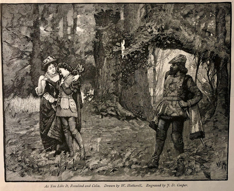 Illustration of a scene from As You Like It in the forest