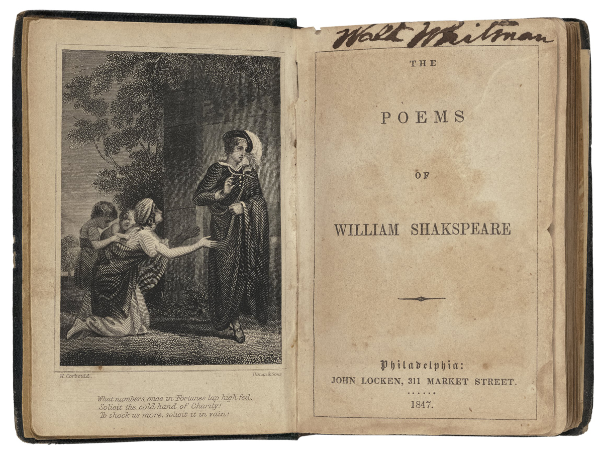 Title page of a copy of Shakespeare's poems that belonged to poet Walt Whitman. His signature is scrawled in ink at the top of the page.