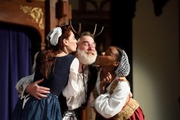 "Emily Classen (Mistress Ford), David Forrer (Falstaff), and Bethany Mayo (Mistress Page) in ""The Merry Wives of Windsor"" at Baltimore Shakespeare Factory. Photo by Will Kirk."