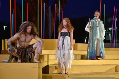"Kit Bulla (Caliban), Delaney Keith (Miranda), Mark Cabus (Prospero) in ""The Tempest"" at Nashville Shakespeare Festival. Photo: Rick Malkin."