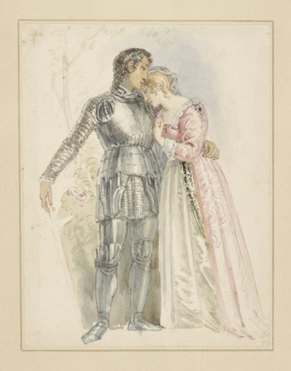 watercolor drawing of Lady Percy and Hotspur