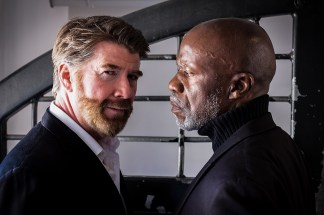 """Michael Ray Wisely (Iago) and L. Peter Callender (Othello) in """"Othello"""" at the African-American Shakespeare Company. Photo: Lance Huntley."""