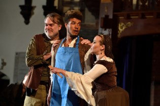 "David Forrer (The Citizen), Warren Harris (Rafe), and Kerry Brady (The Citizen's Wife) in ""The Knight of The Burning Pestle"" at Baltimore Shakespeare Festival. Photo: Will Kirk."