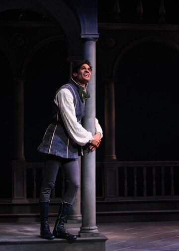 "Keshav Moodliar as Romeo in ""Romeo and Juliet"" at Shakespeare Theatre of New Jersey. Photo: © Joe Guerin, The Shakespeare Theatre of New Jersey."