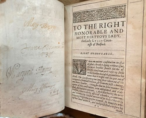 Women readers leave their signatures across from the dedication to Lucy, Countess of Bedford