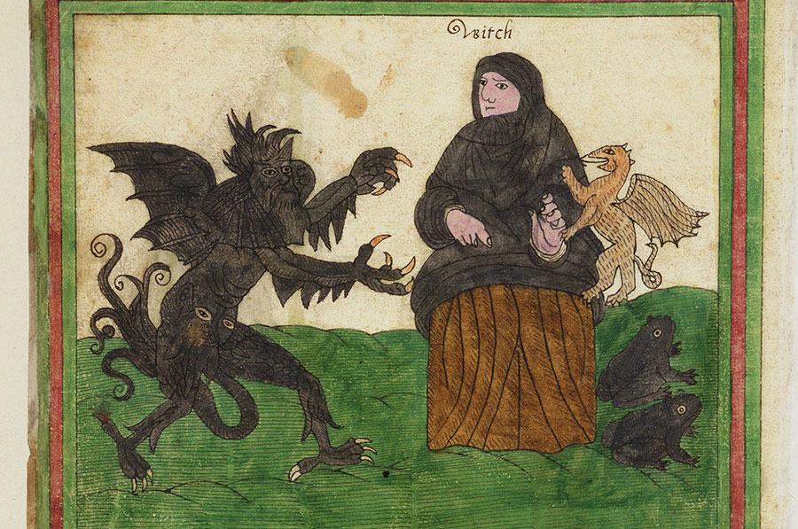 Witch with toads and other familiars