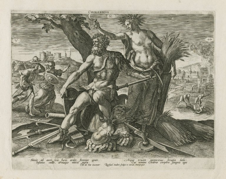 Representing the choleric temperament: A man dressed for war and a woman in classical dress are at the center of the image