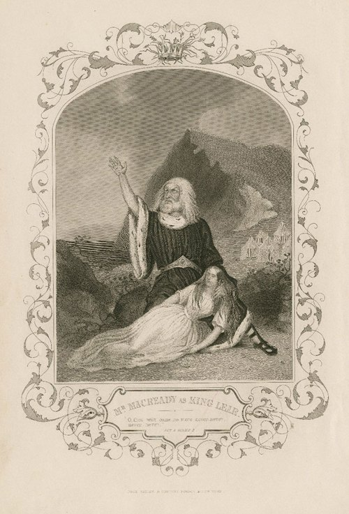 William Charles Macready as King Lear holding Cordelia