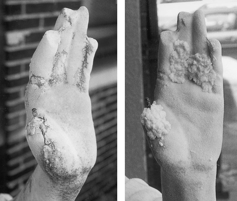 damaged hand belonging to the Puck sculpture