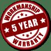 5 year workmanship warranty