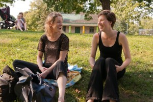 Mentor and actor Lesley Robertson shares a laugh during rehearsal with Thea, one of the 2012 Young Ruffians.