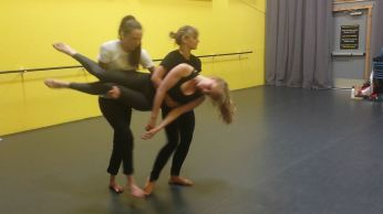 Janelle, Quinn and Hannah in rehearsal