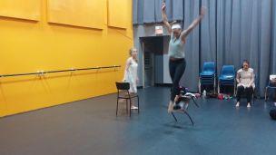 Hannah and Quinn in rehearsal