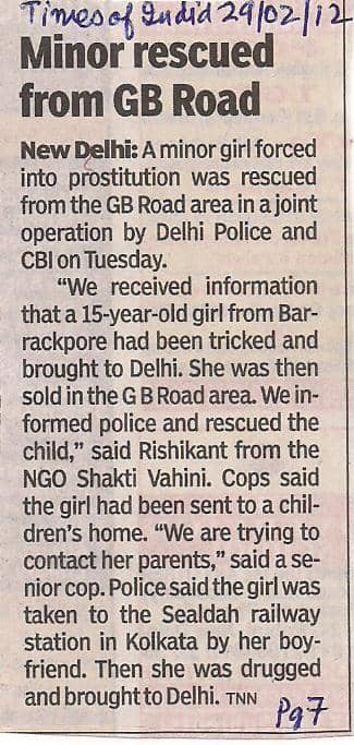 Times of India - Minor Rescued from Brothel