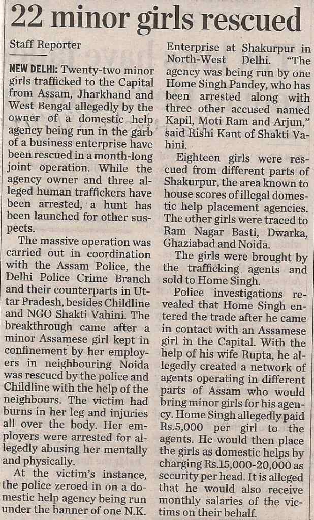 22 MINOR GIRLS RESCUED