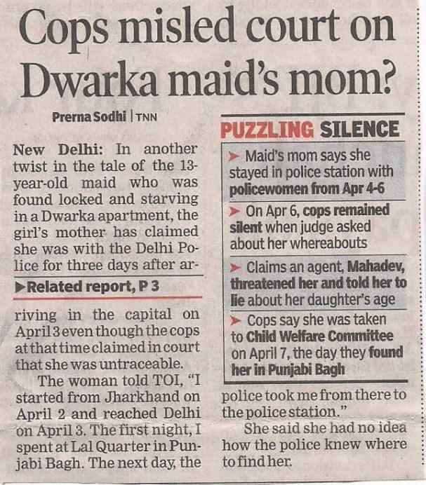 Cops misled court on Dwarka maid Mom