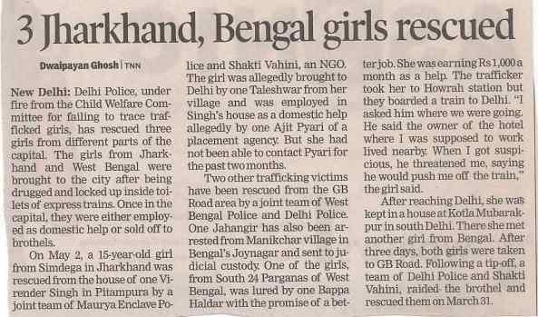 Three Jharkhand , bengal Girls Rescued