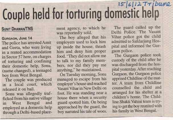 Couple held for torturing domestic help