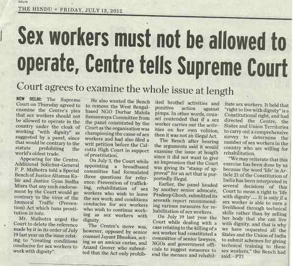 SEX WORKERS MUST NOT BE ALLOWED TO OPERATE - GOVT OF INDIA