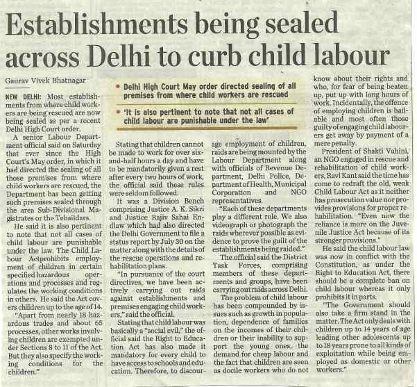 Establishments being sealed across Delhi to curb child labour
