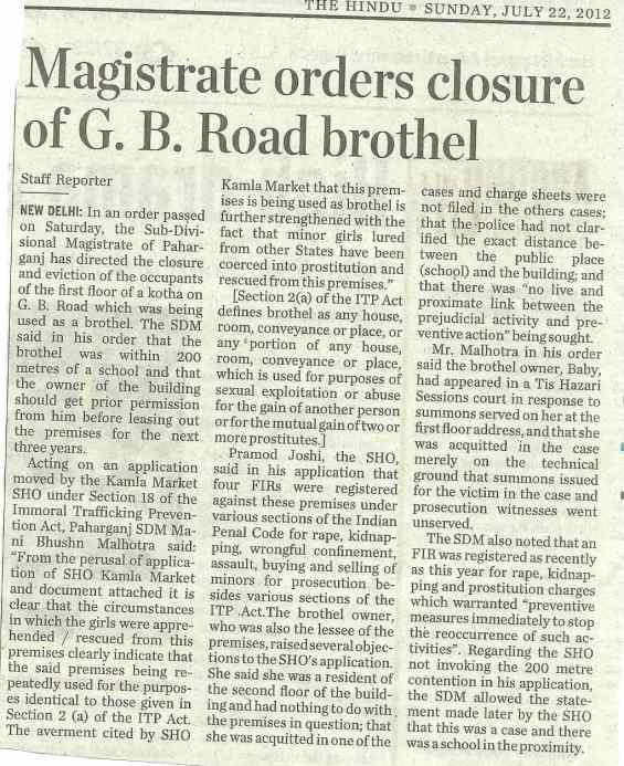 Magistrate orders closure of G. B. Road brothel