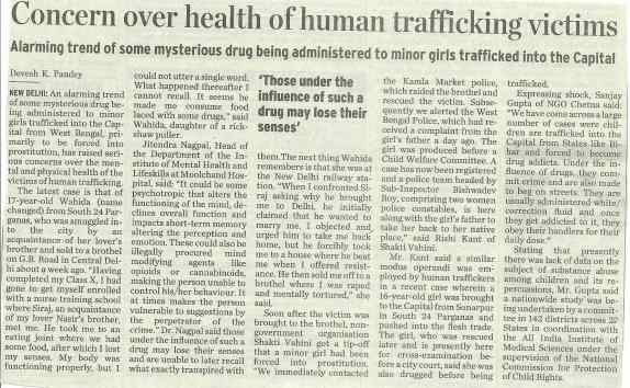 Concern over health of human trafficking victims