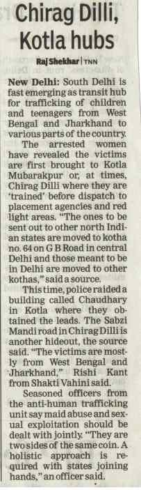 Chirag Dilli, Kotla emerging as transit hub for human trafficking