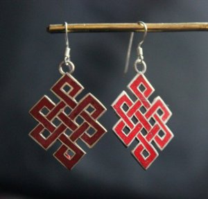 925 silver coral love knot earrings