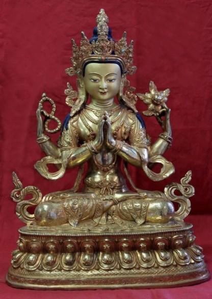 Golden Buddha Chenrezig Full gold buddha statue for sale
